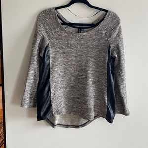 Sweater with faux leather sides